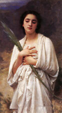 Fine Oil painting Bouguereau - Young beautiful girl with The Palm Leaf in field