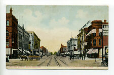 South Bend IN Indiana Michigan Street view, stores, horse, wagon, tracks, early