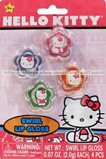 HELLO KITTY 4pc Set SWIRL LIP GLOSS Flower Shaped Pots PINK+PURPLE+ORANGE+GREEN