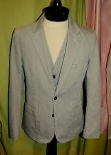 NWT MAISON MARTIN MARGIELA 14 mens light grey washed denim 3 pc suit 48 38 ITALY