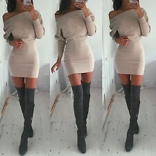 Womens Off Shoulder Sweater Jumper Pullover Bodycon Pencil Dress Party Clubwear
