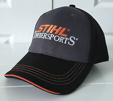 Stihl Timbersports Charcoal and Black Fabric Hat Cap w Orange Details