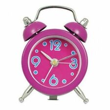 MINI DOUBLE BELL 5CM DIAMETER ALARM CLOCK IN SHOCKING PINK (OUR REF ZC)