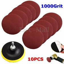10Pcs 4'' Sanding Disc Sandpaper Hook Loop 1000 + Backer Pad with Drill Adapter