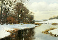 Wonderful Oil painting Deserted Winter brook cross the snow view no framed 36""