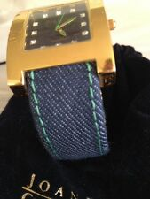 RARE~JOAN RIVERS DENIM CUFF WATCH GREEN STITCHES &HANDS~GOLDTONE FINISH
