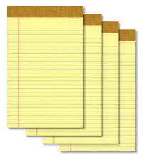 "(4) 5""x8"" 50 Sheet Yellow Writing Note Pads - New"