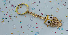 POPULAR OWL GOLD TONE AND YELLOW  KEY RING,FREE POST