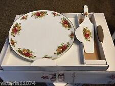 Royal Albert Old Country Rose Cake plate & server new with box