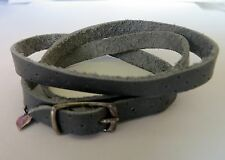 Gray  Leather Wrap Around Bracelet with 925 Silver Buckle with Hanging Heart