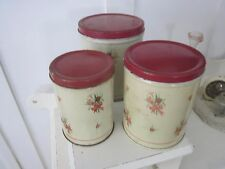 Empeco 3 pc Cannister Set. Tin with red flowers.