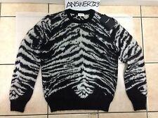$1295 Saint Laurent Paris Tiger Sweater Sz S YSL SLP Hedi Slimane Black White