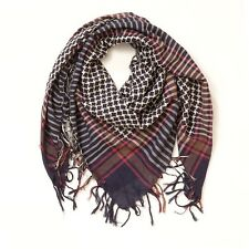 Anthropologie PLAID Houndstooth Navy Blue SQUARE Oversized Fringe SCARF New