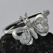 White Gold Filled Womens Ring Cute Butterfly Clear CZ  Size 6#