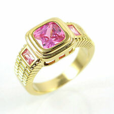 Jewelry Rings Size 7 Pink Sapphire Crystal CZ Women's 10Kt Yellow Gold Filled