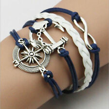 Unisex Silver Infinity Anchor Rudder Sailor Knot Rope Leather Bracelet Charm