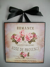 Paris French Shabby Romantic Pink Rose Country Chic - Wall Decor Sign/Plaque