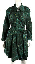 LANVIN Ete 2011 Green Botanical Print Techno Poly Belted Trench Coat 38