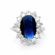 Royal Blue Regal Sapphire Design Inspired Solid Silver Ring Hand made Brand New