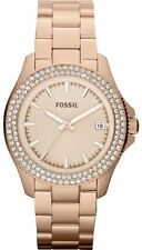 Fossil Steel Rose Gold Metro Traveler Crystals Date Women Watch 40mm AM4454 $145