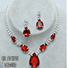 CLEARANCE POPULAR RED CRYSTAL PROM WEDDING FORMAL NECKLACE JEWELRY SET CHIC