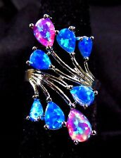 Sterling Silver 925 Filled Size 8 Ring 5*6mm Pink & Blue Lab Fire Opal Cabochon