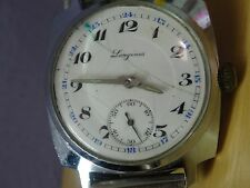 JUST PERFECT Cracked enamel dial cushion case LONGINES trench watch from 1930'S