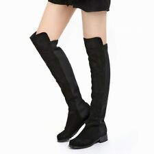 Women Above-knee Boots Long Winter Boot Fleece Lining Flat Shoes 1og US7/EU37.5
