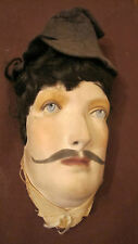 Rare antique hand made wall Bisque ceramic painted male face real hair sculpture