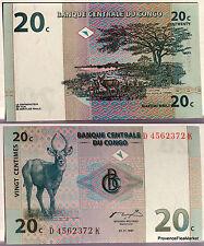CONGO ex ZAIRE billet neuf de 20 c  ANTILOPE Pick83  arbre 1997