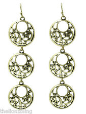 "Bohemian Style Antiqued Aged Finish Gold Dangle Earrings 3 1/4"" Drop"