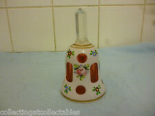 Moser Bohemian Glass Bell  white opaque glass cut to Cranberry glass