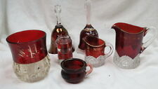 7 items all ruby red stained / some cut glass / etched  2 bells souvenir pieces