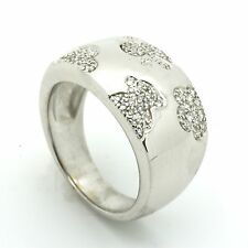 Tous 18k White Gold Ring with Puppy Girl Heart & Flower Motifs in Diamond