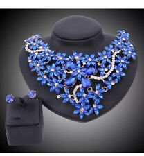 Women's Gold Plated Blue Rhinestone Necklace Earring Wedding Party Jewelry Sets
