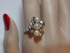Vintage 10K White Gold Cultured 3 Pearl Etched Bypass sz 10 Cocktail Ring 5c 61
