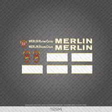 01224 Merlin Racing Cicli Bicicletta Adesivi-Decalcomanie-trasferimenti-Bianco e Oro