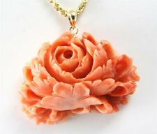 GENIUNE NATURAL CARVED PINK CORAL FLOWER PENDANT 14K YELLOW GOLD THICK HEAVY