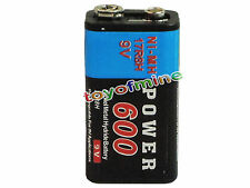 1x Durable 9V 9 volts 600mAh Black Power Ni-MH rechargeable PPS