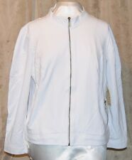 ONE WORLD  FRENCH TERRY KNIT LONG SLEEVED QUILTED DETAIL ZIP JACKET WHITE XL NEW