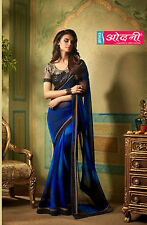 Exclusive Indian Bollywood Blue Embroided Georgette Party Wear Bridal Saree Sari