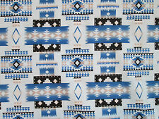 Navajo Indian Blue Tans Black Overall Print Cotton Fabric FQ