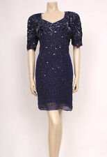 Original VINTAGE 1980's 80's DEEP PURPLE SEQUIN BEADED PARTY DRESS! UK 16