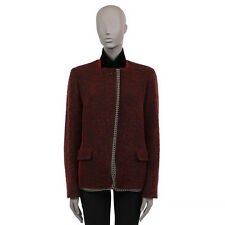 35865 auth ETRO dark red & black cotton & wool Zip-Front Jacket 48 XXL