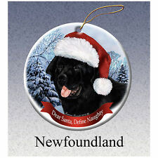 Newfoundland Newfie Howliday Porcelain China Dog Christmas Ornament