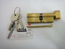 CISA ASTRAL ANTI-SNAP EURO THUMBTURN CYLINDER & REGISTRATION CARD 50/40 - BRASS
