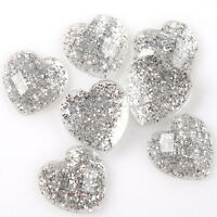 120pcs Charms Heart Clear Silvery Rhinestones Flatback Embellishment ON SALE LC