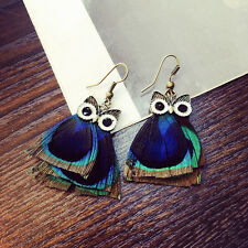 1 Pair Peacock Feathers Pendants Ear Studs Ear Clip Pin Earrings Jewelry Decor