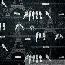 BonEful Fabric FQ Cotton Quilt Black White Gray Flower Eiffel Tower Paris French