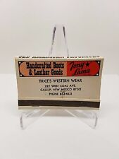 Matchbook Tony Lama Vintage Matchbooks Trice's Western Wear NM